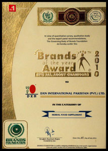 DXN Brands of the Year Award 2010